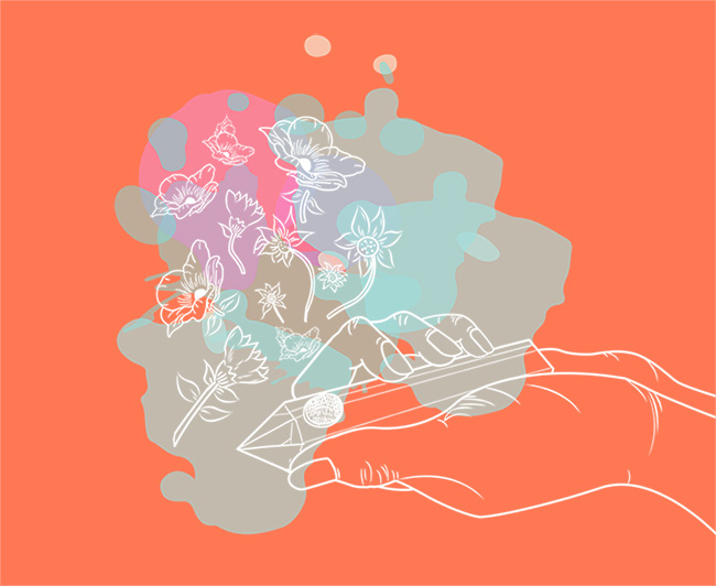Crystal pipe illustration with flowers coming out over watercolor burnt orange background.